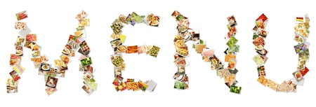 nutrici�n: Collage de men� de la comida en letras del alfabeto Foto de archivo