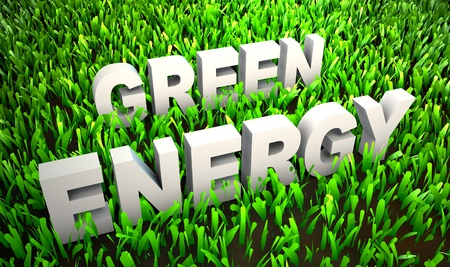 Green Energy and Eco Friendly Concept on Grass photo
