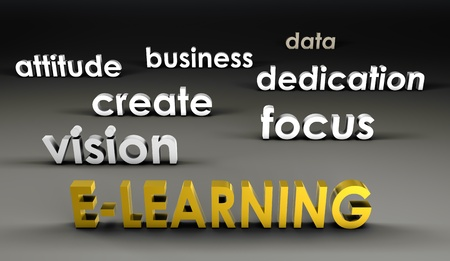 dedicate: E-Learning at the Forefront in 3d Presentation Stock Photo