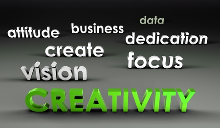 dedication: Creativity at the Forefront in 3d Presentation Stock Photo