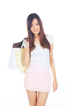 Asian Chinese Girl Going Shopping with Bags photo
