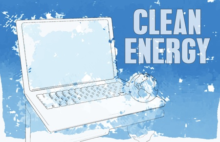 Clean Energy in Blue on Computer Power Stock Photo - 12437368