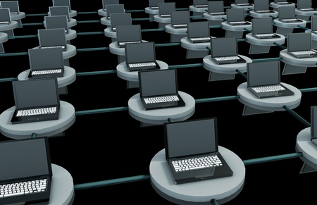 lan: LAN Computer System in 3D with Laptops
