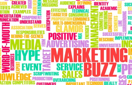 buzz: Marketing Buzz and Building the Hype as Concept Stock Photo
