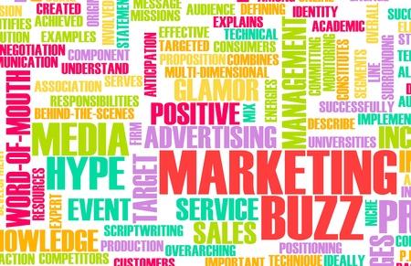 build buzz: Marketing Buzz and Building the Hype as Concept Stock Photo