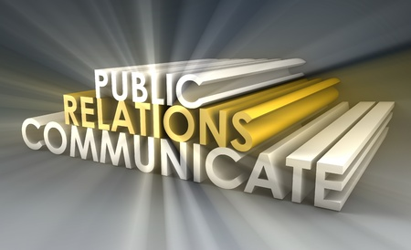 relaciones publicas: Concepto de Relaciones Públicas en la industria de relaciones públicas Foto de archivo