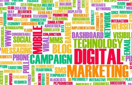 redes de mercadeo: Digital Marketing en Internet y otros medios de Foto de archivo