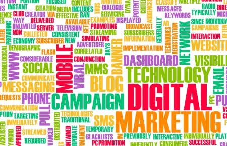 network marketing: Digital Marketing on the Internet and Other Media Stock Photo