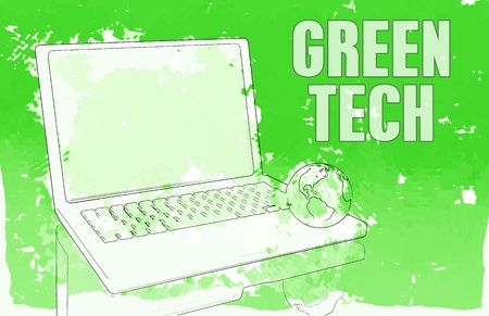 computer: Green Technology on a PC Computer Network Stock Photo