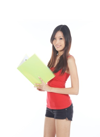 Asian Teen Ready for School and Exam Preparations photo