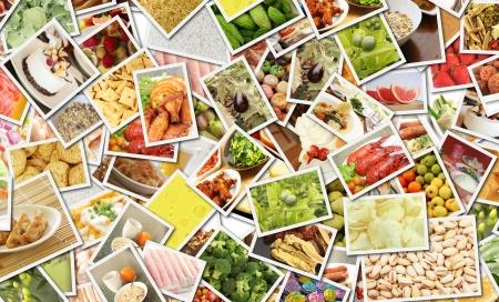외식 사업 컨셉 아트를위한 음식 콜라주 스톡 콘텐츠