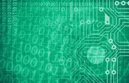 Technology Network with Circuit Board Data Flow Stock Photo