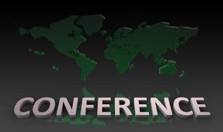discussion forum: Global Conference with a World Map as Concept Stock Photo
