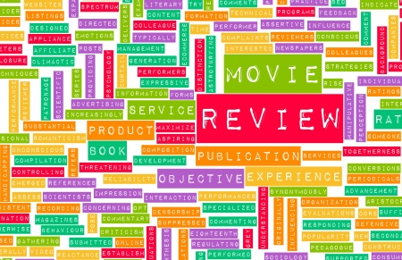 Movie Review Word Cloud as a Concept Stock Photo - 19059266
