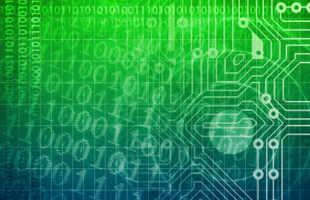 electronic board: Technology Network with Circuit Board Data Flow Stock Photo