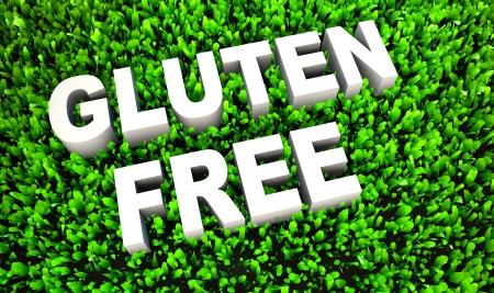 intolerancia: Concepto de alimentos sin gluten en hierba natural en 3D