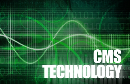 web site design: CMS Technology or Content Management System Tech Stock Photo