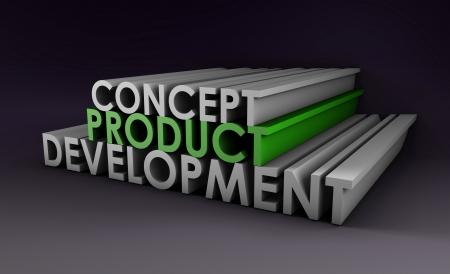 Product Development Step en fase als Concept Stockfoto