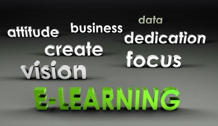 forefront: E-Learning at the Forefront in 3d Presentation Stock Photo