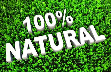 100  Natural Sign on Rendered Grass in 3D