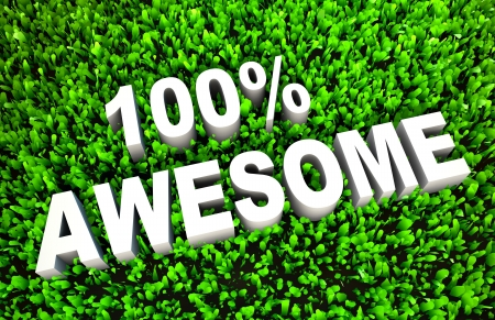 rendered: 100% Awesome Sign on Rendered Grass in 3D