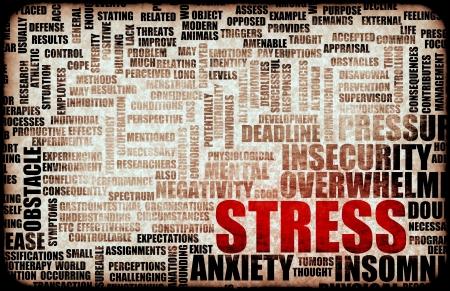 Stress Management und Sein überbeansprucht als Kunst Standard-Bild