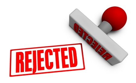 rejected: Application Rejected with Stamp Chop on White Stock Photo