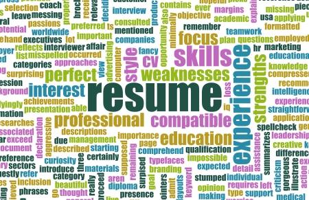 Curriculum vitae del trabajo de un bien escrita concepto de CV Foto de archivo - 20002016