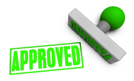 approved stamp: Application Approved with Stamp Chop on White Stock Photo