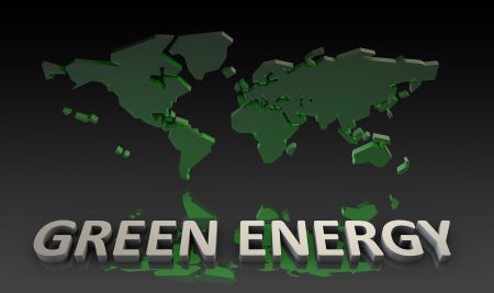 Green Energy on a World Map in 3d photo