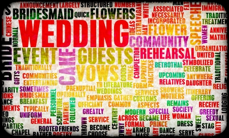 matrimonial: Wedding Day With Cake and Guests Concept