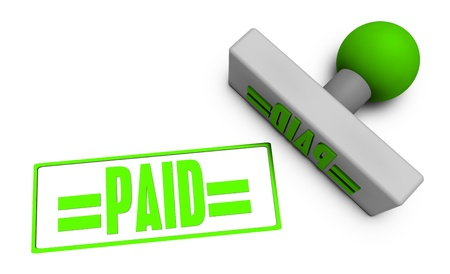 paid stamp: Paid Stamp or Chop on Paper Concept in 3d Stock Photo