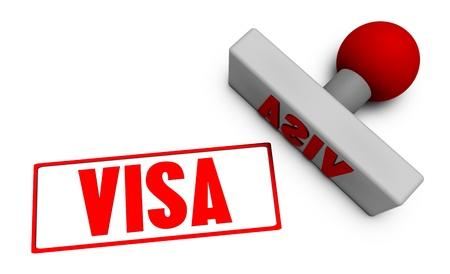 Visa Stamp or Chop on Paper Concept in 3d Banco de Imagens