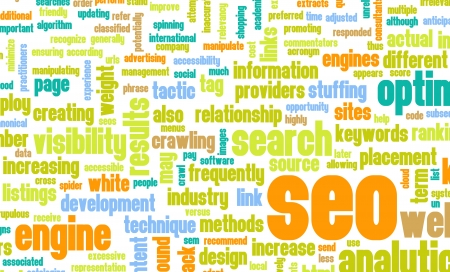 Search Engine Optimization or SEO Word Cloud Stock Photo - 20444298