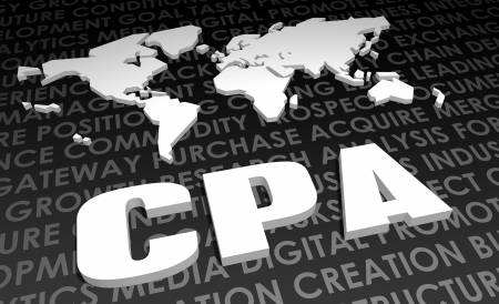 cpa: CPA Industry Global Standard on 3D Map Stock Photo