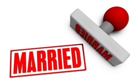 hitched: Married Stamp or Chop on Paper Concept in 3d