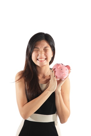 Piggy Bank with Business Woman Investment Concept photo