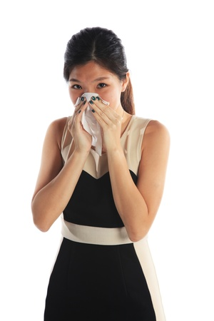 Business Woman Sneezing with a Bad Flu Stock Photo - 20721337
