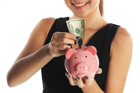 college fund savings: Saving for the Future with Piggy Bank and US Currency