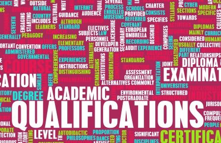 competencias laborales: Cualificaciones en los negocios y la educación como arte Foto de archivo