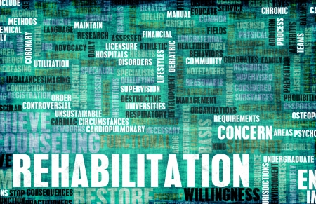 Rehabilitation or Rehab of a Condition as Concept Stockfoto