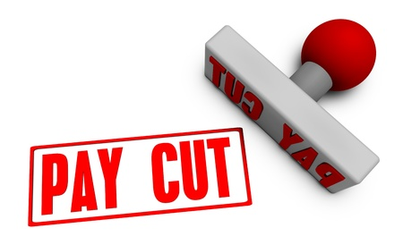 Pay Cut Stamp or Chop on Paper Concept in 3d
