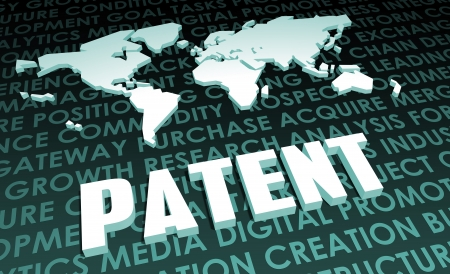 patents: Patent Industry Global Standard on 3D Map Stock Photo