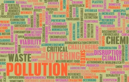 global problem: La contaminaci?n y los desperdicios problema mundial como arte Foto de archivo