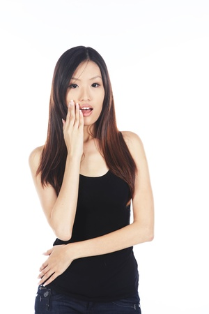 Surprised and Shocked Young Pretty Asian Woman  photo