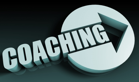 coach: Coaching Concept With an Arrow Going Upwards 3D Stock Photo