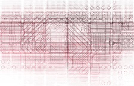 Cybernetics Mechanical Design as a Blueprints Art photo