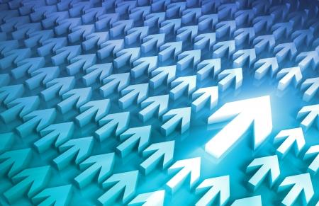 toma de decision: Líder de negocios y toma de decisiones de proceso con las flechas Foto de archivo
