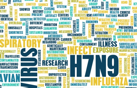 containment: H7N9 Concept as a Medical Research Topic Stock Photo