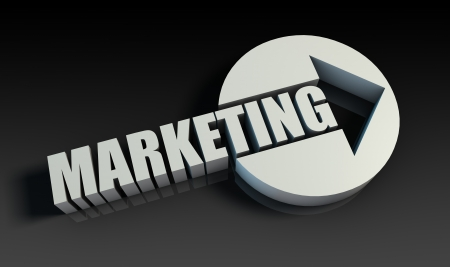 direct marketing: Marketing Concept With an Arrow Going Upwards 3D Stock Photo